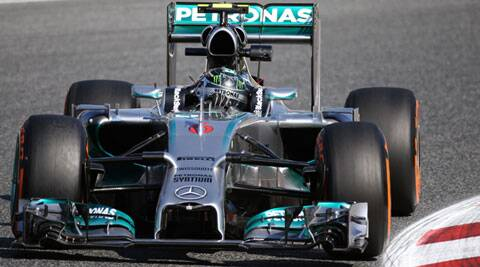 Mercedes driver Nico Rosberg steers his car during the first practice session of the Spanish Grand Prix in Barcelona. (AP)