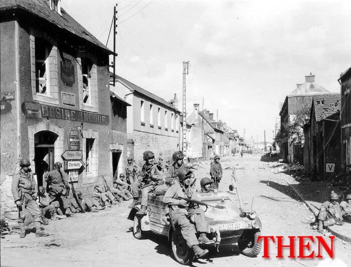 U.S. Army paratroopers of the 101st Airborne Division drive a captured German Kubelwagen on D-Day at the junction of Rue Holgate and RN13 in Carentan, France, June 6, 1944. (Source: Reuters)