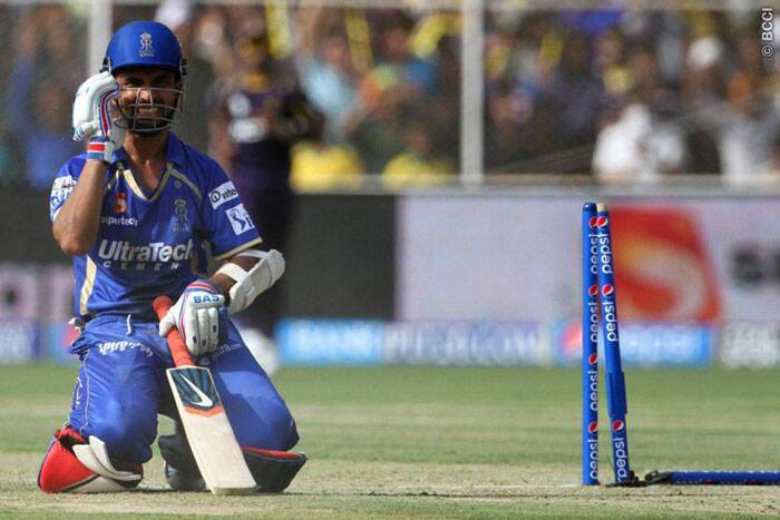 Ajinkya Rahane, who scored 30 off 22 , was left in no thoughts after being run out by a direct-hit from Sunil Narine. (Photo: BCCI/IPL)