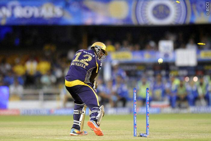 Andre Russell was clean bowled by Shane Watson, who struck thrice in a single over to bring back Rajasthan into the game. (Photo: BCCI/IPL)