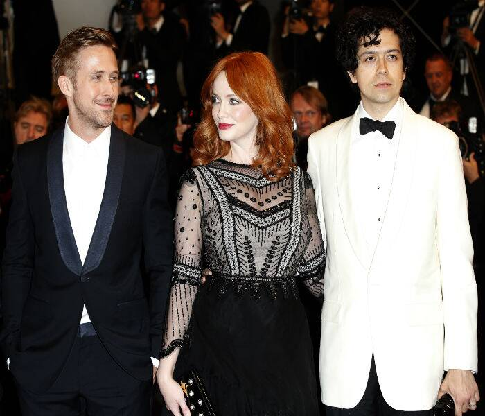 Hollywood heartthrob Ryan Gosling was also present in Cannes as arrived for the screening of 'Two days, One Night' along with his 'Lost River' team Christina Hendricks and her partner Geoffrey Arend. (Source: AP)