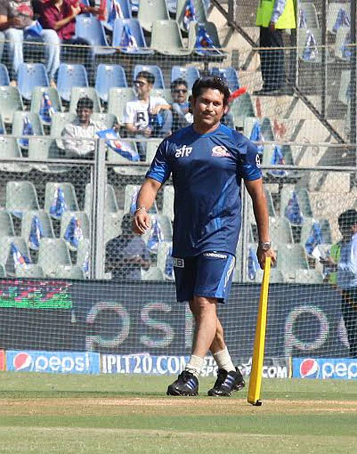 Sachin Tendulkar may not be playing for the Mumbai Indians anymore, but he is still a quintessential asset for the team. His mere presence is sufficient to motivate the players and support staff. (IE Photo Prashant Nadkar)