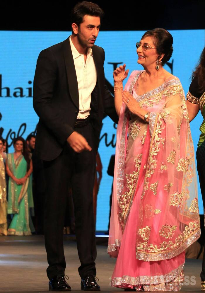 In a rare appearance veteran actress Sadhana, who has been away from the public eye for a while now, took to the ramp on Sunday (May 11) for a fashion show by designers Shaina NC and Vikram Phadnis to support the cause of cancer and AIDS patients. <br /><br /> The 72-year-old actress was escorted by Bollywood heartthrob Ranbir Kapoor in what's said to be her first experince on the ramp.  (IE Photo: Ganesh Shirsekar)