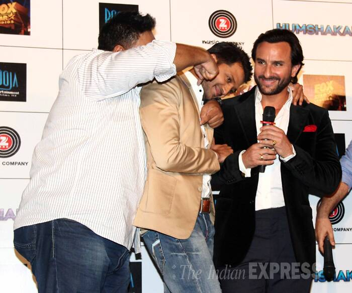 Ram Kapoor joins in the bromance as Riteish cosies up to Saif. (Source: Varinder Chawla)