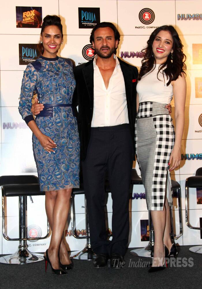 Ladies Man! Saif Ali Khan seemed comfortable with Bollywood beauties Esha Gupta and Tamannah Bhatia in his arms. Though we were missing Bipasha Basu, whose absence has raised quite a few eyebrows. (Source: Varinder Chawla)