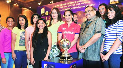 Saina Nehwal  (R) alongside teammates at the launch of the 2014 Uber Cup on Wednesday.