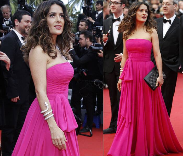 Actress Selma Hayek arrives for the screening of Saint Laurent at the 67th international film festival, Cannes. (Source: AP/Reuters)