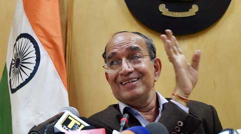 Chief Election Commissioner V.S. Sampath at a press conference over poll controversy in New Delhi. (PTI)