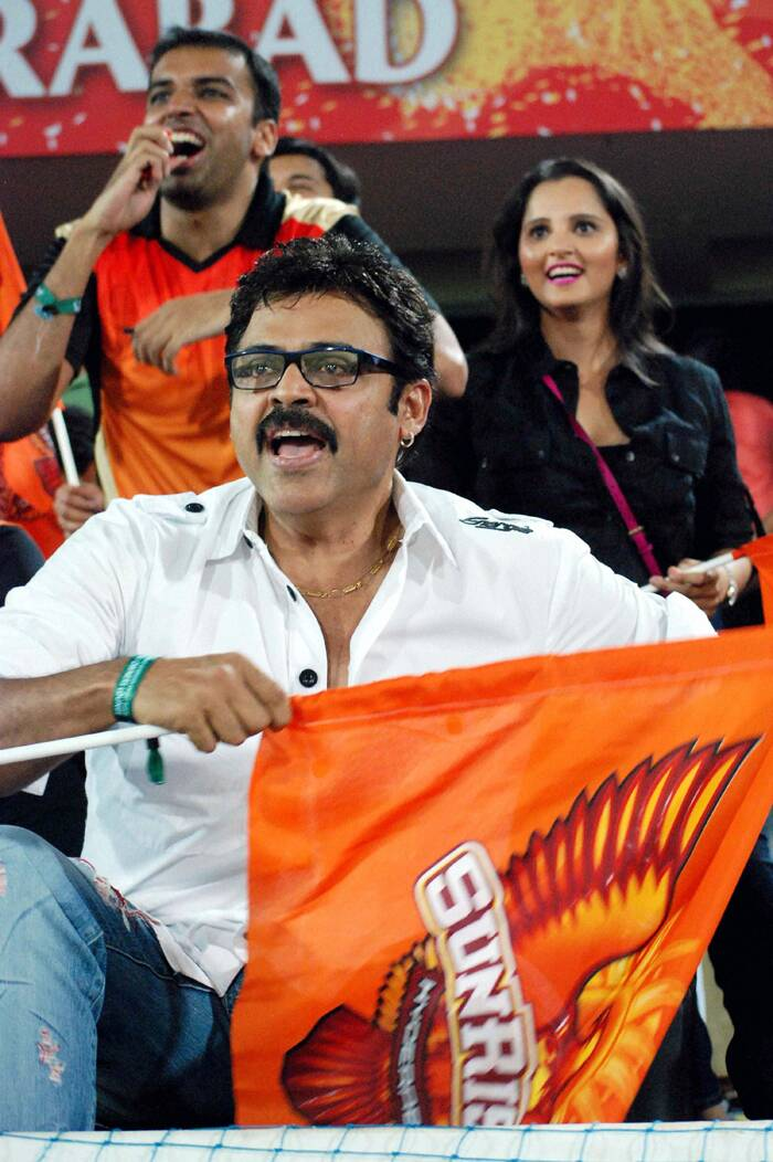 Sania was joined by Telugu superstar Venketesh as they watched the IPL 7 match between Sunrisers Hyderabad and Kolkata Night Riders in Hyderabad on Sunday. (PTI)