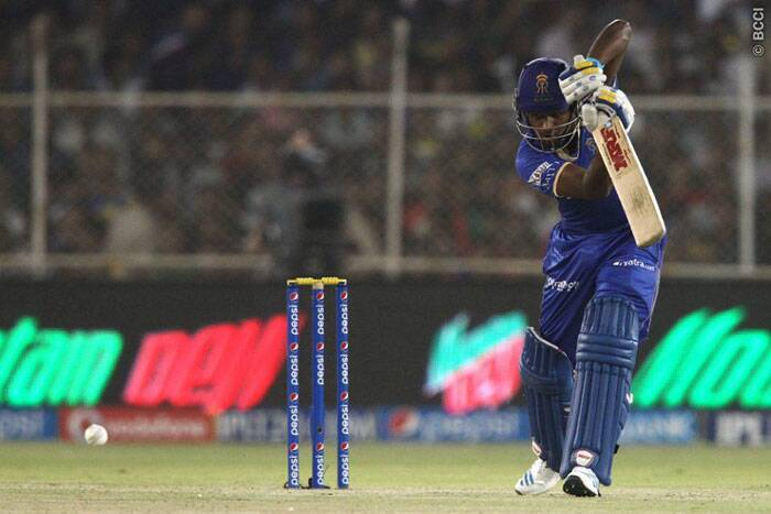 Chasing a small target of 135 run, Rajasthan were off to a bad start as they lost openers Ajinkya Rahane and Karun Nair with only 27 on the board. Sanju Samson tried rebuilding  the innings but Hyderabad bowlers never gave the batsmen to score. (Photo: BCCI/IPL)