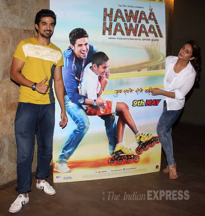 Bollywood actress Huma Qureshi was seen having a fun time watching her brother Saqib Saleem's latest release 'Hawaa Hawaai' with her friends Riteish and Genelia Deshmukh, among others. (Photo: Varinder Chawla)