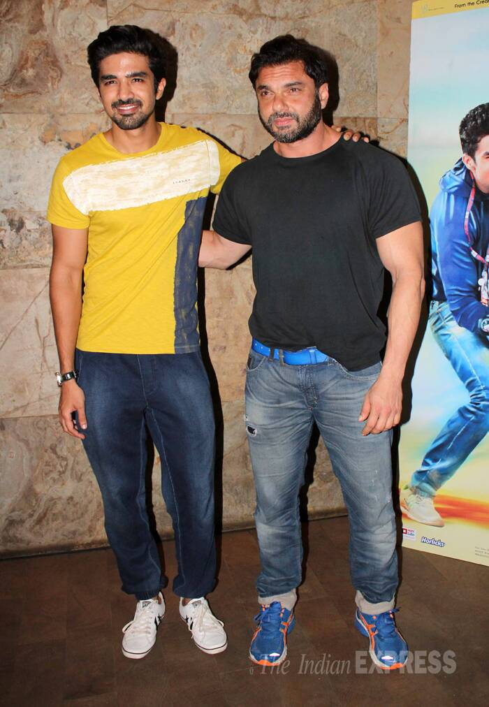Actor filmmaker Sohail Khan poses with Saqib for the photogs. (Photo: Varinder Chawla)