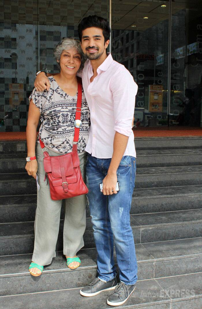 Saqib poses for a picture with a friend outside the multiplex. (Photo: Varinder Chawla)