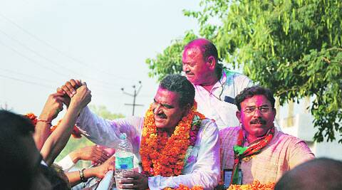 BJP candidate Sanjeev Baliyan leads a road show after winning from winner Muzaffarnagar, Friday. ( Source: Express photo by   Gajendra yadav )