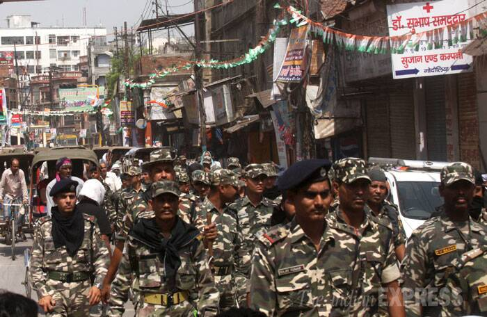 Security for Rahul Gandhi's rally. (IE Photo: Neeraj Priyadarshi)