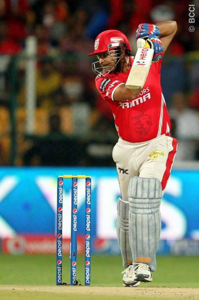 Kings XI Punjab opener Virender Sehwag got off to a blazing start against Royal Challengers. However, he couldn't convert his start into a big innings and lost his wicket early. (Photo: IPL/BCCI)