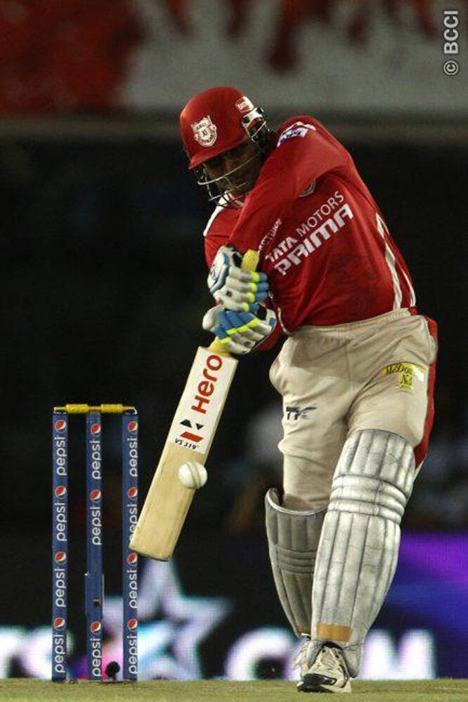 Kings XI Punjab opener Virender Sehwag went all guns blazing against Rajasthan Royals, but he was soon dismissed by James Faulkner for 18. Sehwag struck four boundaries in his eight ball stay at the crease. (Source: IPL/BCCI)