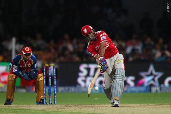 Virender Sehwag was caught by Royal Challengers Bangalore captain Virat Kohli off Yuzvendra Chahal's bowling. Sehwag scored 30 runs off just 24 balls. (Photo: IPL/BCCI)
