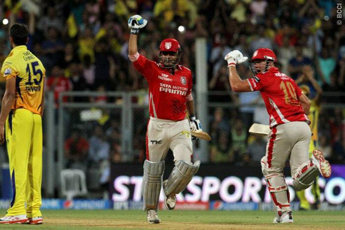 The Wankhede Stadium went abuzz as Virender Sehwag smashed his second century of the Indian Premier League. It was a vintage innings by Sehwag who struck 12 fours and 8 sixes in his 58-ball 122.  (Source: IPL/BCCI)