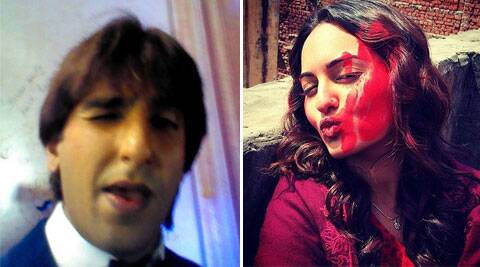 Ranveer Singh and Sonakshi Sinha pose for their selfies.