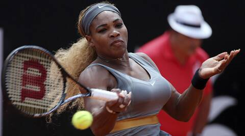 Serena Williams returns the ball to Italy's Sara Errani, during the final match of the Italian Open on Sunday. (AP)