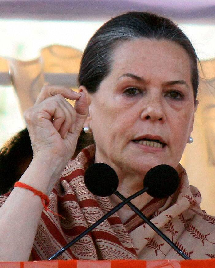 Congress President Sonia Gandhi addressing an election campaign meeting in Guntur on Friday. (PTI)