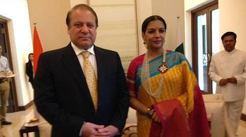 Shabana Azmi met Nawaz Sharif at a tea party hosted by a steel tycoon last evening.