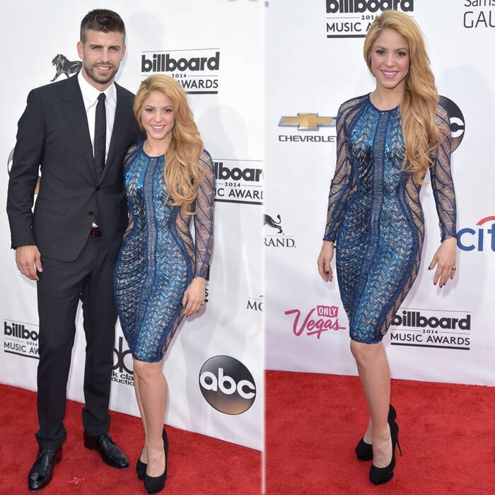 Sure enough Hips don't lie! Shakira showed off her toned figure in a knee-length optical illusion dress featuring sheer panels down the sides.<br />The 37-year-old came with her partner Gerard Piqué. (Source: AP)
