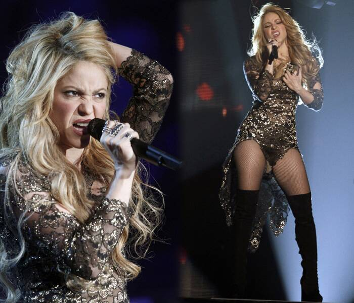 Shakira was glittering in a bronze ensemble featuring a two piece and sheer outfit with embroidery.
