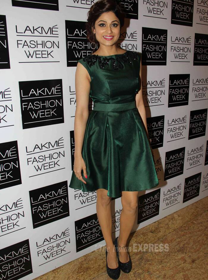 Actress Shamita Shetty looked like a school girl in this belted green dress that failed to even photograph well.