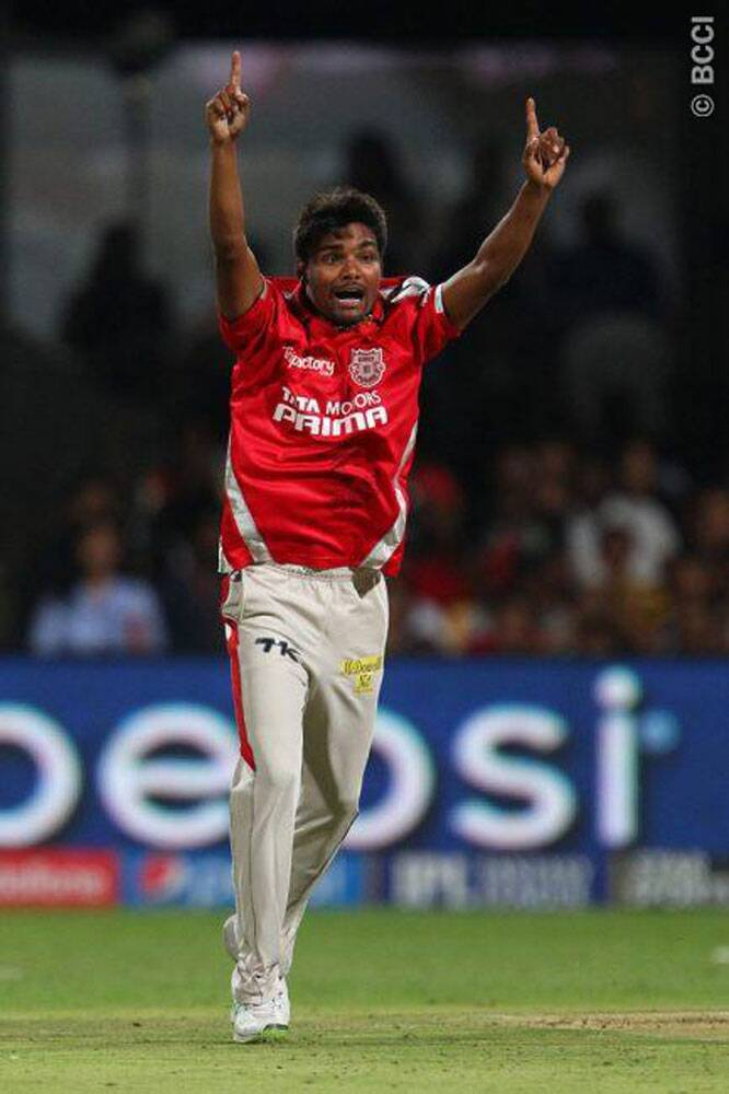 Kings XI Punjab seamer Sandeep Sharma's wonderful run in the Pepsi IPL tournament continued as he took three wickets against Royal Challengers Bangalore on Friday. Sharma finished with match-winning figures of 3/25 from his four overs. (Photo: IPL/BCCI)