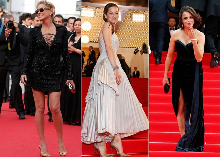 Hollywood actress Sharon Stone along with French actresses Marion Cotillard and Berenice Bejo took to the red carpet on May 21 as they arrived for the premieres of 'The Search' and 'L'homme qu'on aimait trop' (In the Name of My Daughter) at the 67th Cannes Film Festival.  (Source: Reuters)