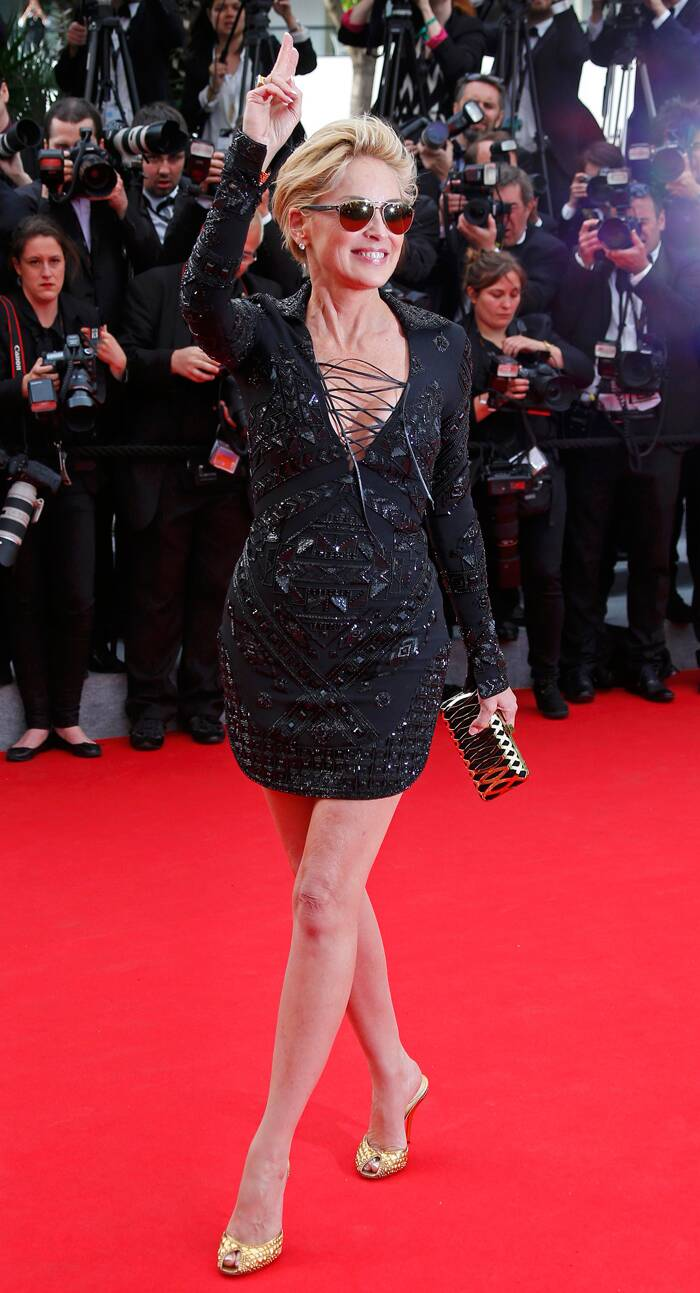 'Basic Instinct' beauty Sharon Stone, who almost never fails to impress on the red carpet, shocked the media and fans with her inappropriate LBD by Emilio Pucci as she arrived for the Cannes Premiere of 'The Search'. (Source: Reuters)
