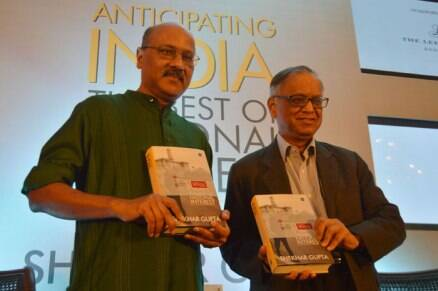 Narayana Murthy launches Shekhar Gupta's book 'Anticipating India' in Bangalore