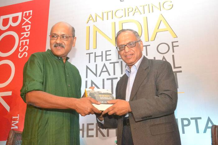 Narayana Murthy launches Shekhar Gupta's book 'Anticipating India' in Bangalore