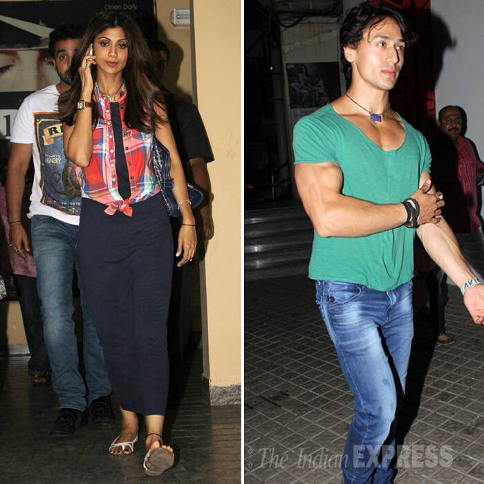 Bollywood's yummy mummy and co-owner of Rajasthan Royals Shilpa Shetty, who has been busy with the IPL 7, took some time off from her busy schedule to enjoy a movie date her husband Raj Kundra. Newcomer Tiger Shroff was also seen at the movie hall. (Photo: Varinder Chawla)