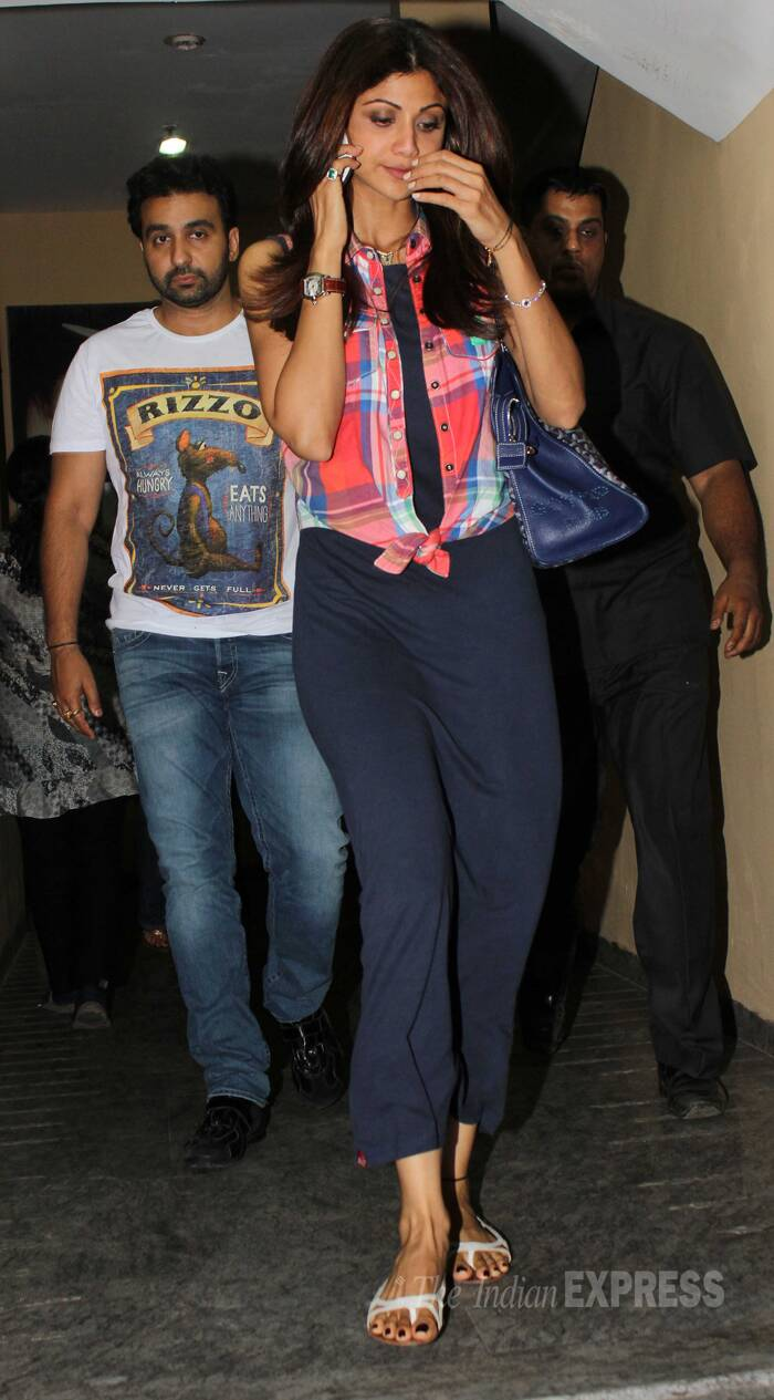 Shilpa Shetty was seen wearing a navy blue dress with a knotted checked top over it. (Photo: Varinder Chawla)