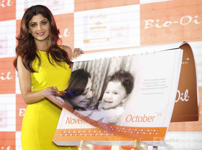 Yummy mummy Shilpa Shetty attended a calendar launch by a baby product. (IE Photo: Prakash Yeram)