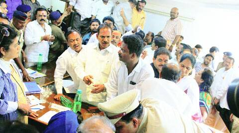 Chaos at the DP hearing in PMC on Monday. Source: Express