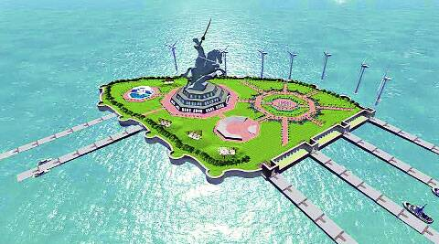 Concept plan of the Shivaji Memorial in Arabian Sea. (Source:  Maharashtra government)