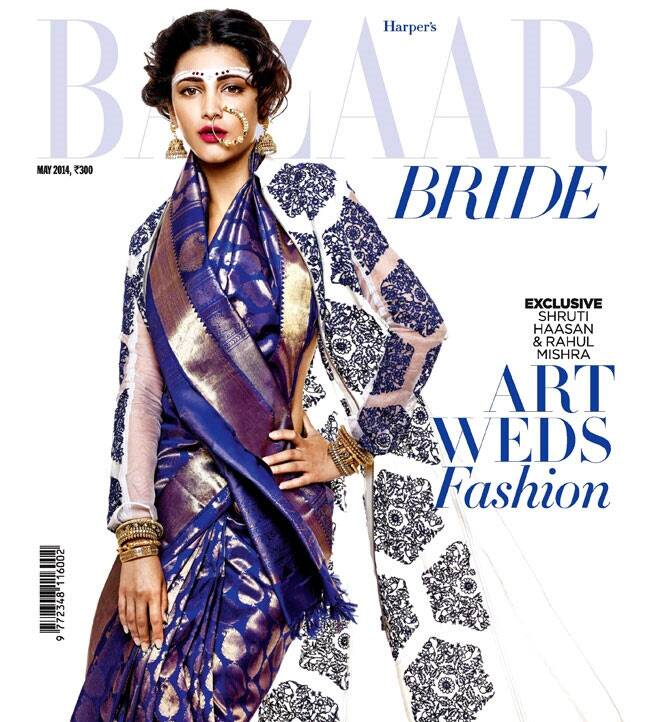 Actress Shruti Haasan looks stunning on the over of a bridal issue. The actress is seen donning a traditional sari with a twist.