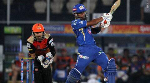 Mumbai Indians batsman Lendl Simmons launched a pulverizing assault on Sunrisers Hyderabad on Monday. Simmons scored 68 runs off 50 balls. (IPL/BCCI)
