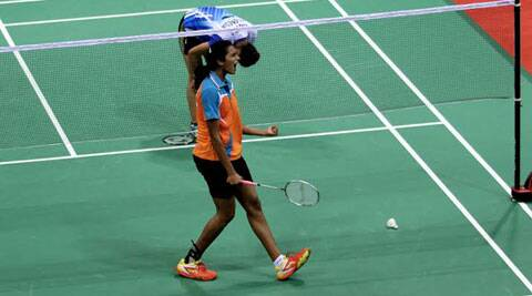 PV Sindhu played out of her skin to eke out a hard-fought 21-16 10-21 25-23 victory over Bellaetrix Manuputty (IE Photo Ravi Kanojia)