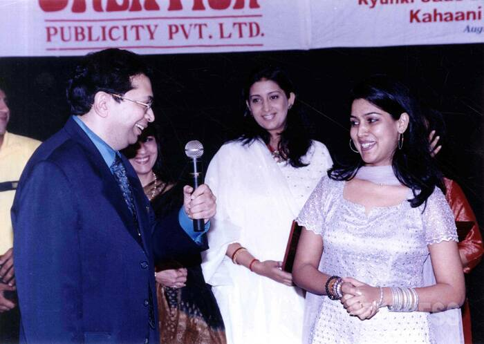 Smriti Irani holds the record for winning five consecutive Indian Television Academy Awards for Best Actress (Popular), four Indian Telly Awards, eight Star Parivaar Awards. Seen here, the actress is all smiles at a felicitation function organised by Indo American Society on August 18, 2001 at the YB Chavan Auditorium along with Saakshi Tanwar and Dr. Arun C Vakil, Vice President Indo American Society.