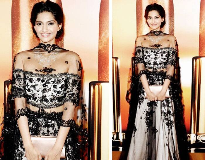 Next she surprised with her black and white net Shehla Khan lehenga worn with Chopard jewels for Trophee Chopard Party, Cannes 2013.