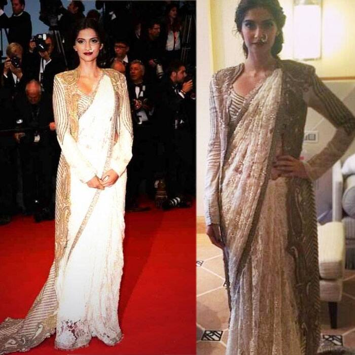 Other beauty, who is also representing India at the prestigious festival is Sonam Kapoor. Sonam also went desi on the red carpet and was seen sporting a nathni with her Anamika Khanna sari. She wore her sari with an embroidered jacket.