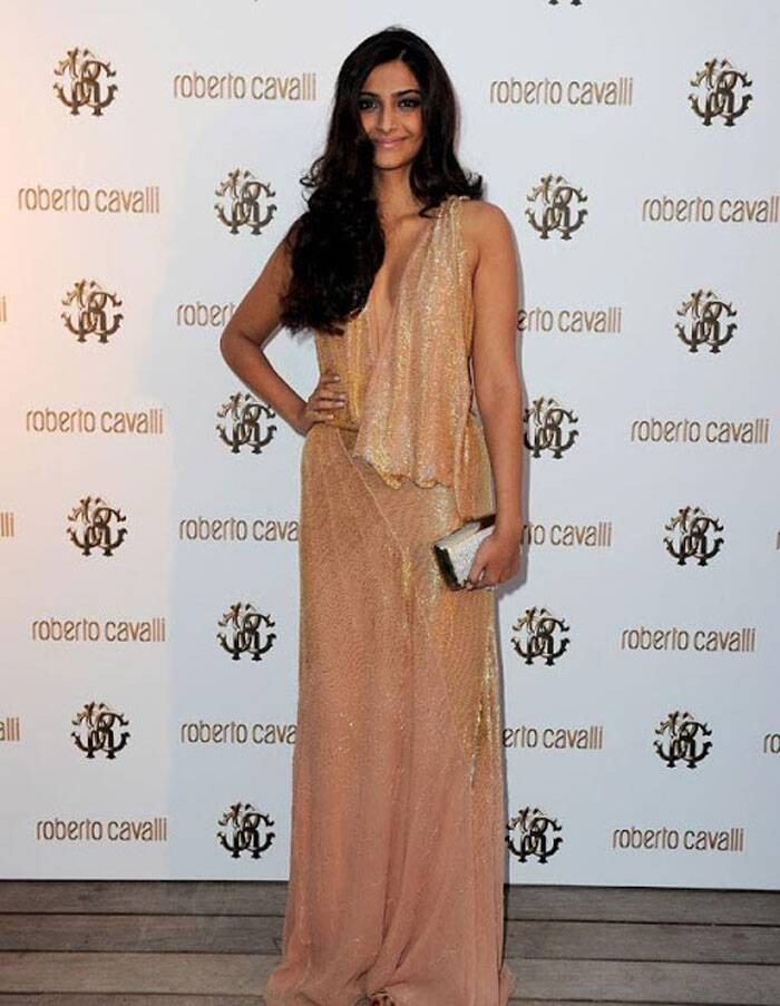 It was a shimmery Roberto Cavalli dress for Sonam Kapoor at a private dinner on The Cavalli Yacht during the 64th Cannes Festival in 2011.