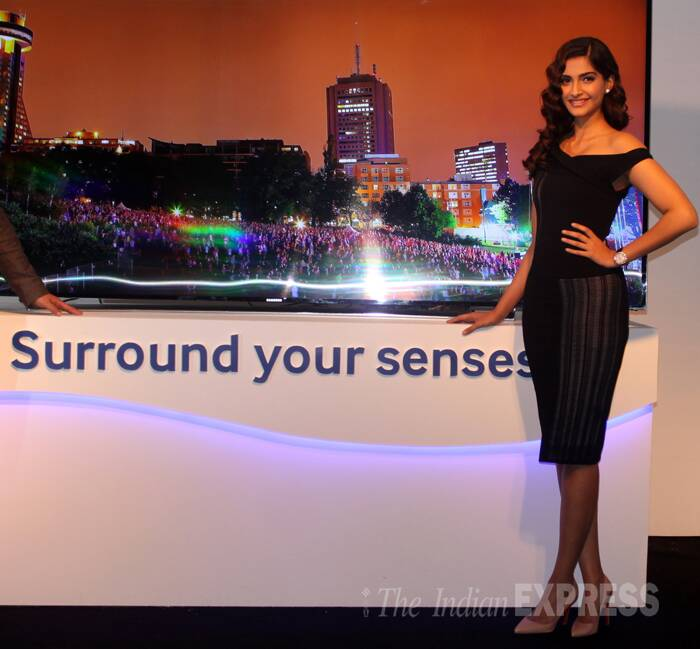 Bollywood fashionista Sonam Kapoor was in Delhi to launch a new television range onWednesday (May 7). (Express Photo: Purushottam Sharma)