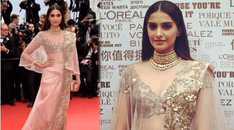 Sonam Kapoor was elegant in pale pink Anamika Khanna sari dress.