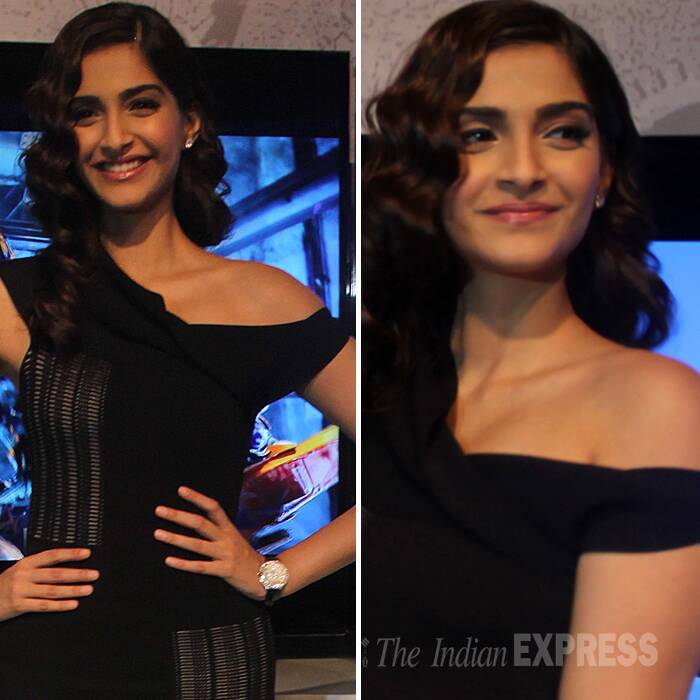 A classic retro hair style finished off Sonam Kapoor's look. (Express Photo: Purushottam Sharma)